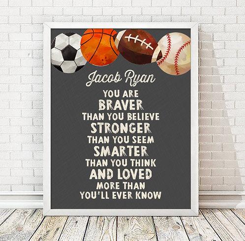 Personalized Motivational Sports Print
