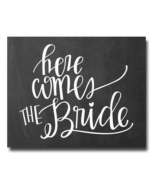here comes the bride chalkboard print