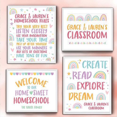 colorful Homeschool station print set