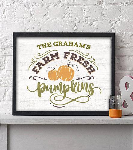 Personalized Farm Fresh Pumpkins Fall Wall Print