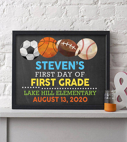 Sports first day of school print