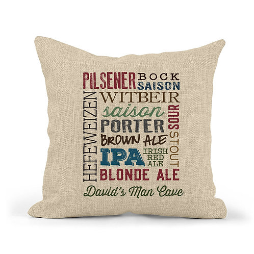 personalized beer types pillow