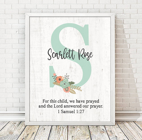Personalized For This Child We Have Prayed Teal Monogram Print