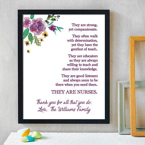 Floral Nurse Appreciation Poem Print