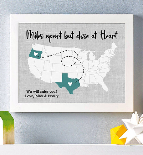 personalized miles apart but close at heart teal long distance map print