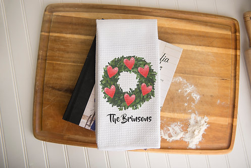 Heart Wreath Dish Towel