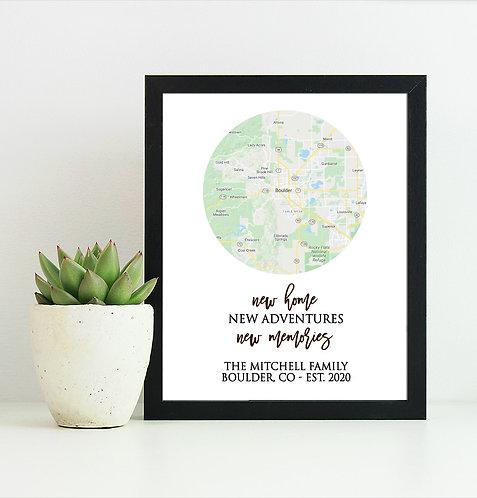housewarming map print