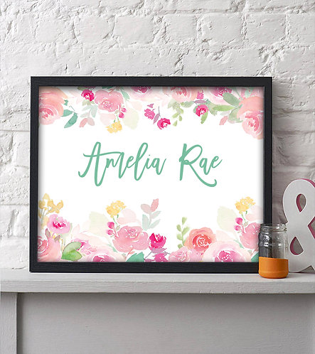 floral border with name personalization