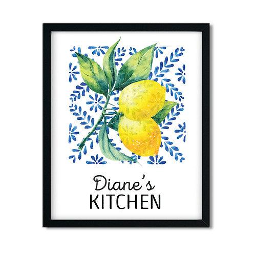 lemon decor with blue floral print