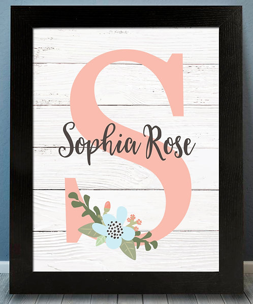 Personalized Floral Pink Monogram Print