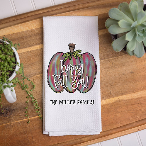 personalized happy fall y'all kitchen towel