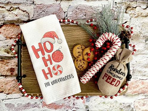 personalized ho ho ho kitchen towel