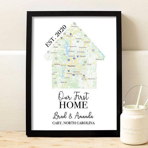 Google Map First Home Print