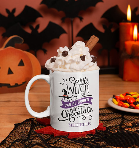 This Witch Can Be Bribed With Chocolate Personalized Halloween Mug