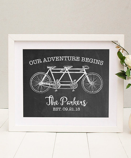 Rustic Chalkboard Bike Wedding Print