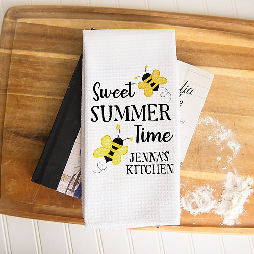 personalized sweet summer time kitchen towel