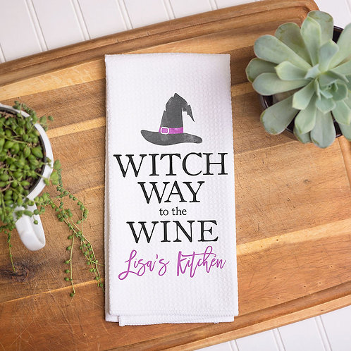 Witch Wine Halloween Towel