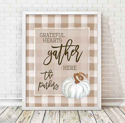 Grateful Hearts Gather Here, Personalized Fall Print
