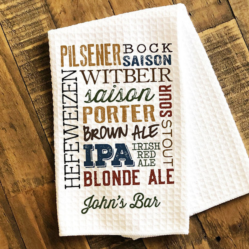 beer types towel for grilling or personal bar
