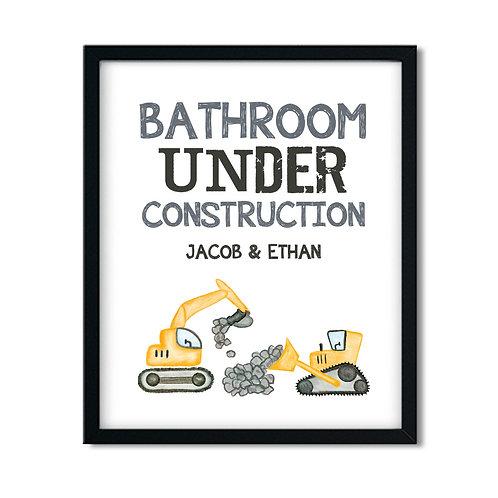 Kids bathroom under construction bulldozer print