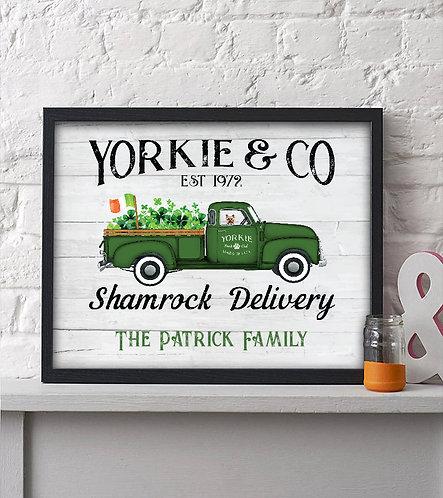 Rustic Yorkie St. Patrick's Day print