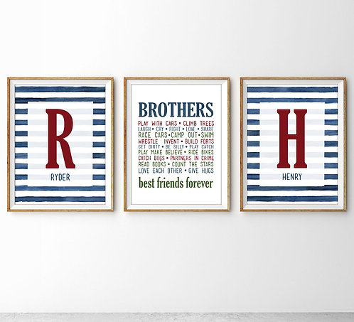 striped monogram decor for shared brothers room