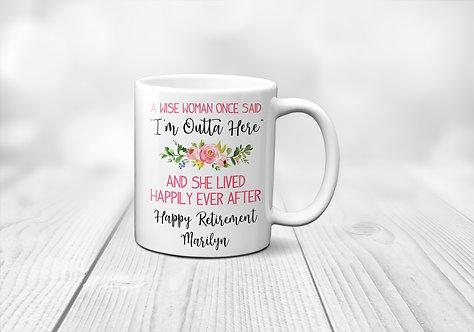 floral retired woman mug
