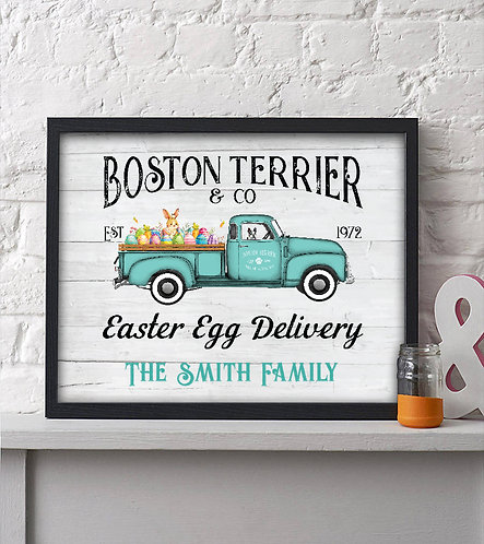 rustic boston terrier & co easter egg delivery print
