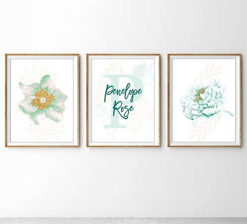 set of three flowers print for girl's room