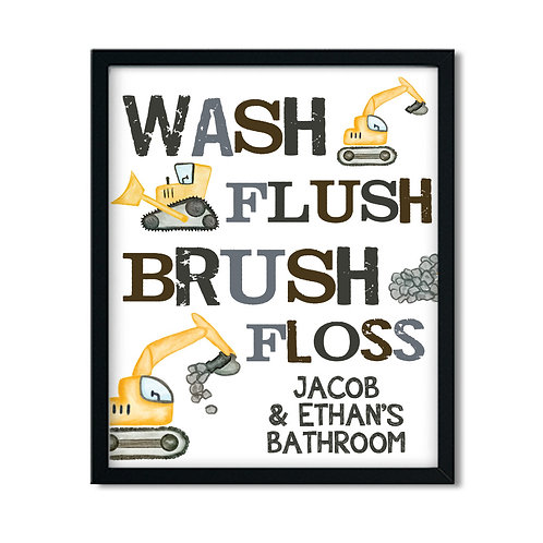 wash flush brush floss construction bathroom print for kids