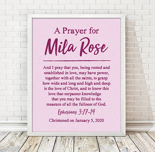 personalized pink prayer for girls room
