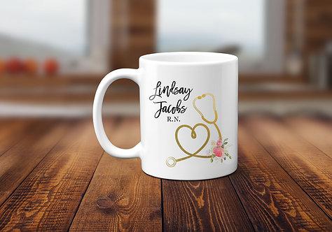 floral stethoscope mug