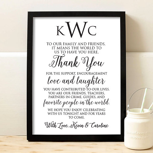 black and white cursive thank you for coming wedding print