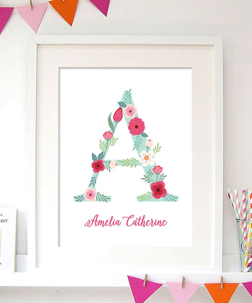Personalized Monogram Initial Print. Floral Pattern that is Perfect for girls