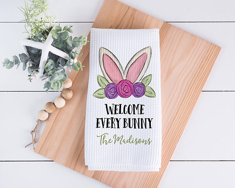 floral bunny welcome every bunny kitchen towel