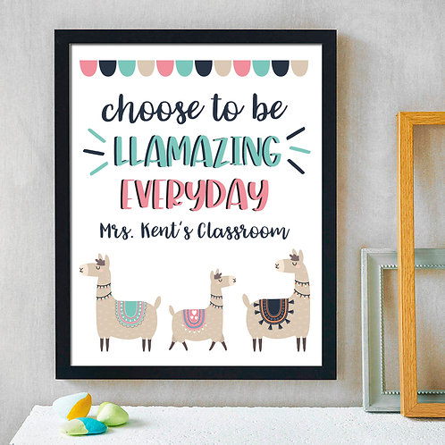 Llama Classroom Print