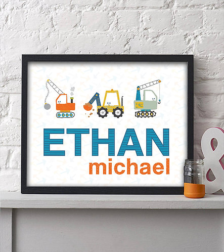 Personalized Construction Boys Print