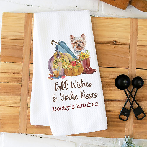 Personalized Fall Wishes& Yorkie Kisses Kitchen Towel