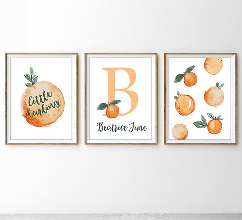 personalized set of three oranges print