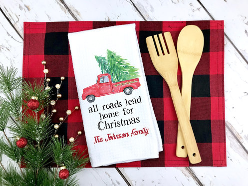 home for christmas personalized kitchen towel