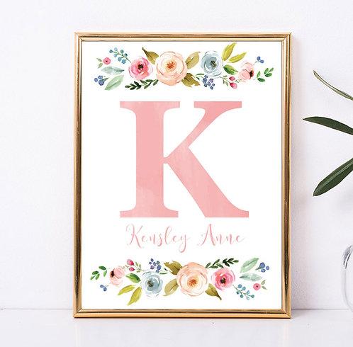 Pink Floral Monogram