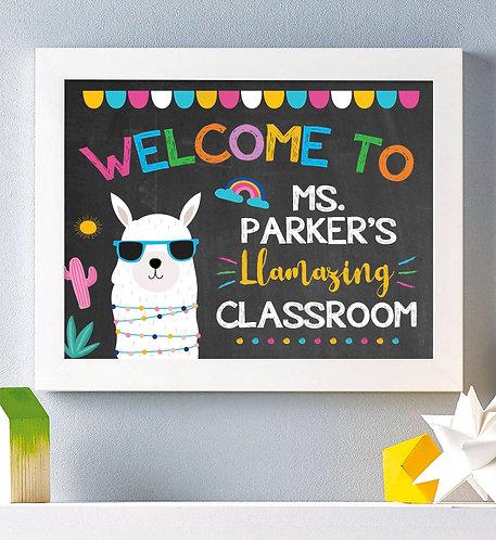 Llama Chalkboard Classroom Print