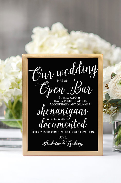 open bar wedding print