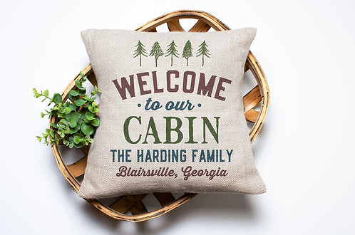 Personalized Welcome to our Cabin Pillow