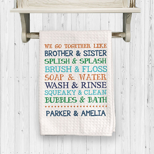 personalized brother and sister bathroom towel