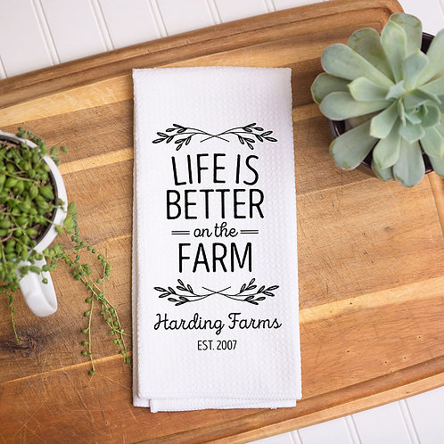 Life On The Farm Personalized Towel