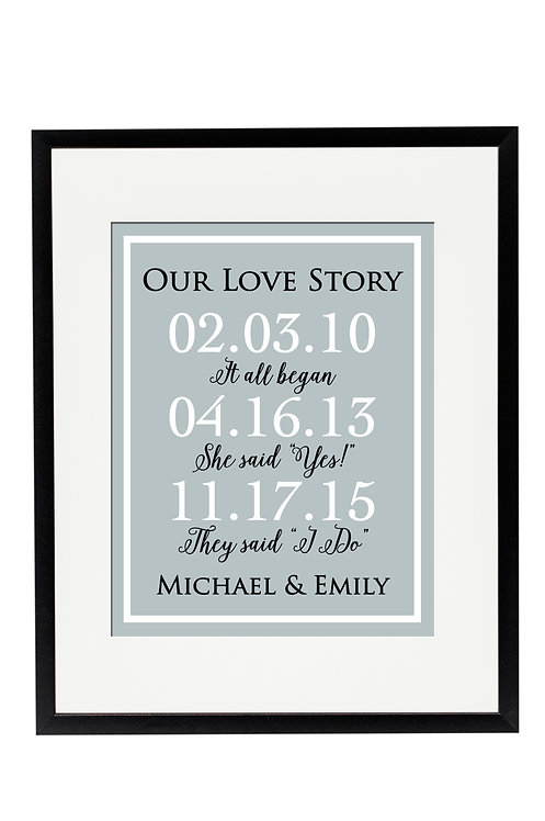 Our Love Story Three Date Print