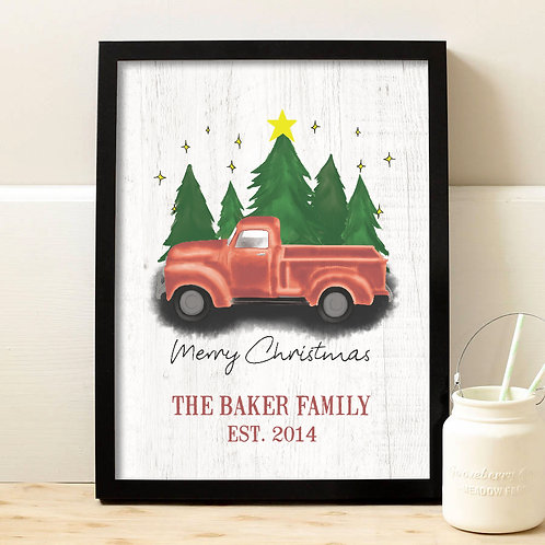 personalized red truck christmas decor