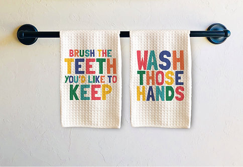 colorful wash those hands towel