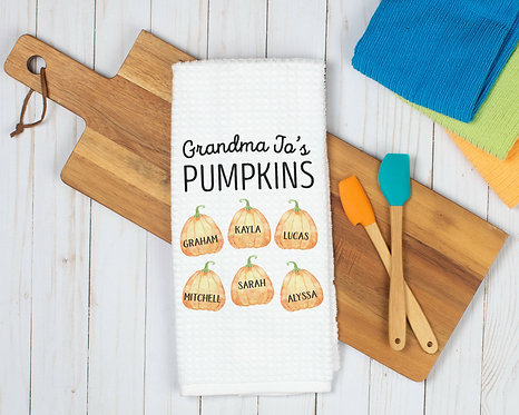 Grandkids pumpkin fall towel